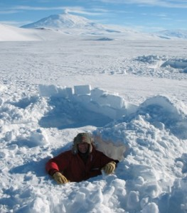 Nick Frearson at home in a snow hole near Mount Erebus, Antarctica, in 2009