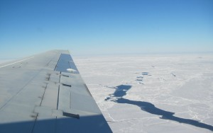 Skimming over sea ice in the Weddell Sea, Antarctica