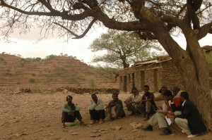 A group of farmers in rural Ethiopia meet to discuss drought index insurance for their village.