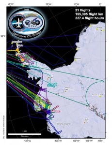 Map with flight lines of the Operation ICE Bridge 2009 Antarctic campaign.