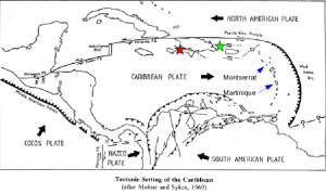 "Tectonic plates and fault zones of the Caribbean. Port-au-Prince is the red star. (After P. Molnar/ L.R. Sykes, ""Tectonics of the Caribbean,"" 1969) CLICK TO ENLARGE"
