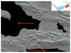 Radar image of the Port-au-Prince area. Red arrows show direction of movement of tectonic plates. (Jet Propulsion Laboratory) CLICK TO ENLARGE