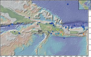 The Northern Caribbean has been hit by many quakes greater than magnitude 5 since 1964. Blue circles show the shallowest, within 25 kilometers of the surface. Gray circles show immediate aftershocks from the Jan. 12, 2010, quake.  (Geoffrey Abers/Lamont-Doherty Earth Observatory) CLICK TO ENLARGE