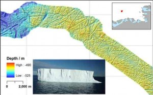 Icebergs gouged furrows on the sea floor off Antarctica as ice sheets retreated 18,000 years ago.
