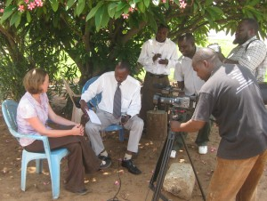 Donna Shillington explains seismic network to Malawi TV