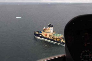 A helicopter view of the Oden heading home