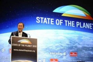 UN Secretary General delivers a keynote address at State of the Planet 2010 in New York City