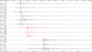 Example of aftershock recorded on four seismic station on Jan 19, 2010