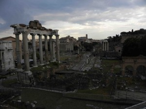 In this picture of the Forum, you can see the Colosseum and Lanuvio's volcano on the horizon.