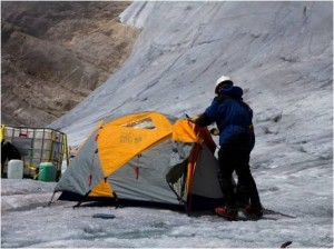 Camping on the Northwall Firn Glacier.