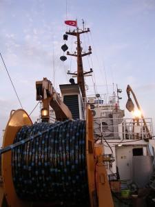 Seismic streamer on reel on K. Piri Reis