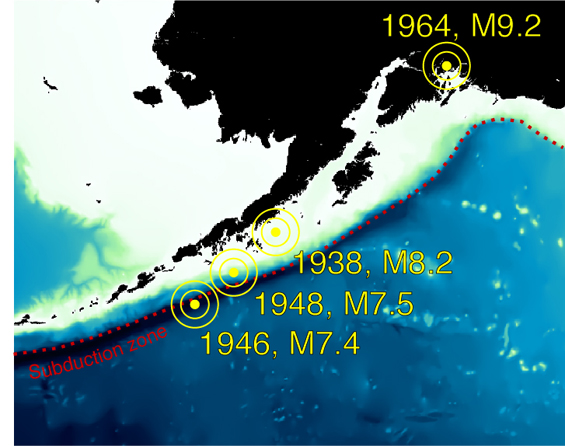 Imaging the Sources of Great Alaskan Earthquakes