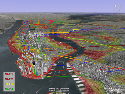 Estimate of the potential reach of cat. 1,2,3 and 4 hurricane flooding in NYC. Illustration courtesy of Klaus Jacob.