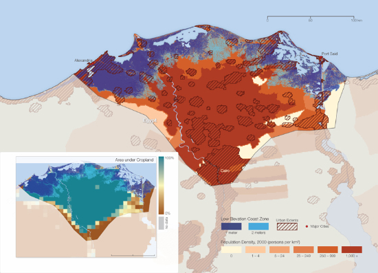 This map shows areas of sea level rise at 1 and 2 meters (dark and light blue, respectively) along with population density. More than 10 million people live in areas of the Nile delta that could be inundated by a 2 meter sea level rise. The inset shows the area under farmland.