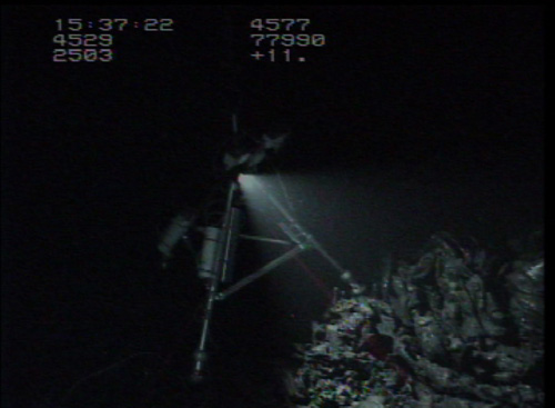 The VentCam lights up a fresh lava pile within the axial summit trough of the East Pacific Rise.