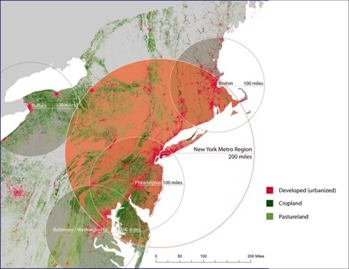 This map, produced by the EI'S Urban Design Lab at Columbia University, is a graphic representation of the area needed by major Northeastern cities to produce enough food to feed their populations. It's an excellent tool for visualizing the concept of what is local. In NYC, local is typically considered as coming from within a 200-mile radius.