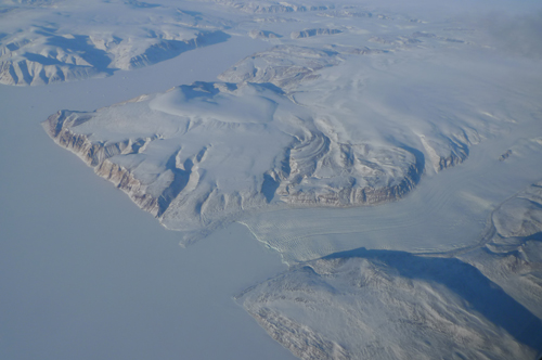 Tributaries of the Humboldt glacier in northwest Greenland. This massive glacier measures 100 km wide with a 91m high calving face along a front that releases massive icebergs.