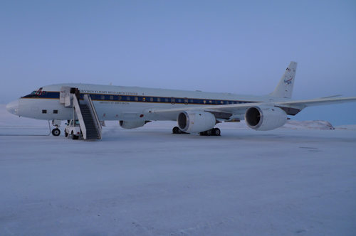 The DC 8 being prepared for a sea ice flight.