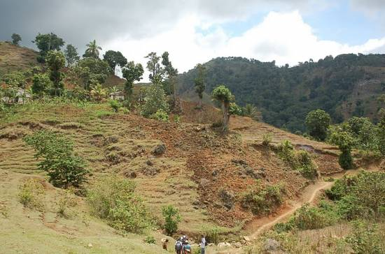 Typical mountain agriculture without soil conservation.