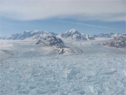 Kangerdlussuaq glacier is accelerating at a rate of 14 km/yr (image by Indrani Das)