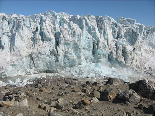 The end of this collapse of Russell Glacier's terminus (Image credit Indrani Das)