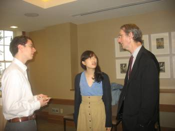 Graduates David Raisler and Semee Yoon with Professor John Mutter