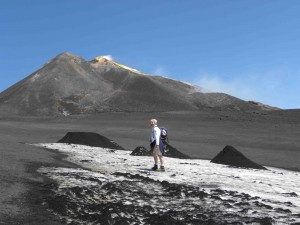 At 11,000 feet, Mount Etna is tall enough to have snow in June. Credit: Meg Reitz.