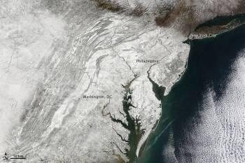 Snow over the East Coast. Source: NASA