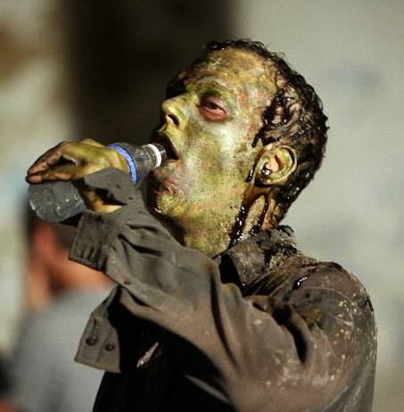 Zombies need water too. But do they have drink from plastic bottles? Source: Scott Shaw, The Plain Dealer.