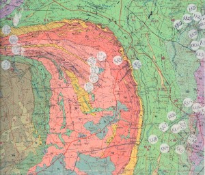 Geologic maps show what rocks are exposed at the surface.