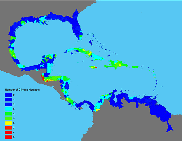 Gulf of Mexico/Caribbean number of extreme climate hotspots, by administrative unit. Blues are low number; greens moderate; yellow to red show progressively more. (Courtesy CIESIN)