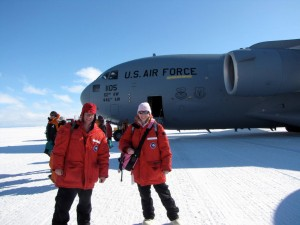Mike Kaplan and Nicole Bader arriving in sunny Antarctica