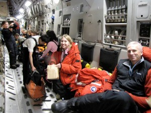 Nicole Bader and Mike Roberts, the mountaineering guide of our team, on the plane from New Zealand to Antarctica