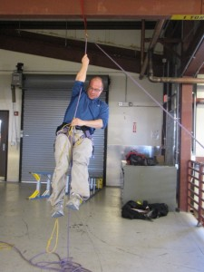Mike Kaplan from Lamont practicing rock climbing, in preparation of the field trip to the Transantarctic Mountains