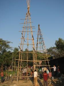 Two bamboo drill rigs at Jamalganj