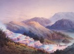 Painting of the Pink Terraces prior to 1886. Alexander Turnbull Library, Wellington, New Zealand.