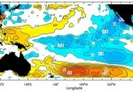 This map, updated weekly, shows the cooler-than-normal sea-surface temperatures (blue) in the equatorial Pacific that define La Niña. Click on the chart to go to an interactive version in the IRI Data Library.