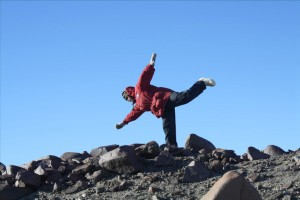 Spontaneous dance performance by Tim Flood celebrating the end of the highly sucessful field season