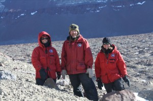 Kathy Licht, Tim Flood and Nicole Bader exploring glacial deposits near Mt Achernar
