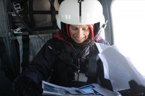 Kathy Licht from Indiana University-Purdue University, Indianapolis on a reconnaissance helicopter flight to check out the best way to get to Mt Archernar
