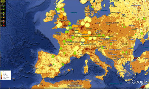 A screen shot of the nuclear plant proximity analysis combined with the interactive global population density Google Earth map.