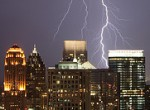 Lightning strikes near buildings in downtown Atlanta (credit: flickr user 'brendanlim')
