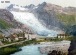 "The Rhone Glacier c. 1900. Residents of the village of Gletsch, down the valley from the Rhone Glacier, have kept track of the ice since 1602. ""Their water supply, the availability of farmland is controlled by where the glacier is,"" said researcher Brent Goehring. For more glacier photos, go to: http://www.swisseduc.ch/glaciers/index-en.html"