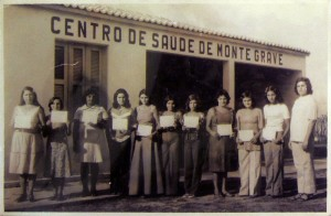 Monte Grave Scrapbook: Young women receiving sewing certificates. Monte Grave was founded as a religious, agrarian community and its members were encouraged to develop practical skills.