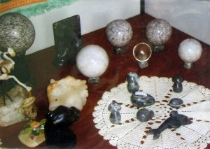 Monte Grave Scrapbook: Locally produced stone handicrafts, ranging from animal figures to decorative spheres.