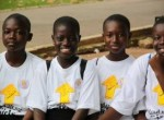 "Kumasi girls join the ""Stand Up for Girls"" celebration."
