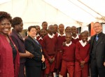 Sauri Millennium Village school children from Nyamuninia Primary explain the benefits of their school feeding program to the Ambassadors of Colombia and Mexico at Nairobi's International Food Fair