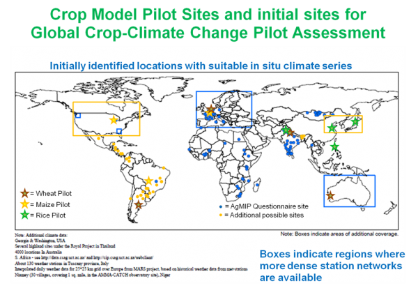 A map of pilot sites for agricultural and climate modeling.
