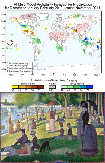 IRI's precipitation forecast & A Sunday Afternoon on the Island of La Grande Jatte