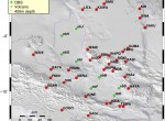 Map shows locations of seismometers deployed to study movements of the earth around eastern Papua New Guinea.